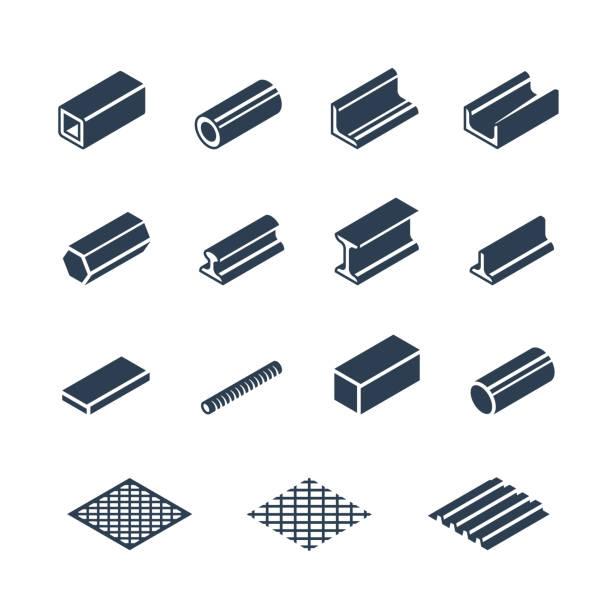 metallurgie produkte vektor icon-set - metallverarbeitung stock-grafiken, -clipart, -cartoons und -symbole