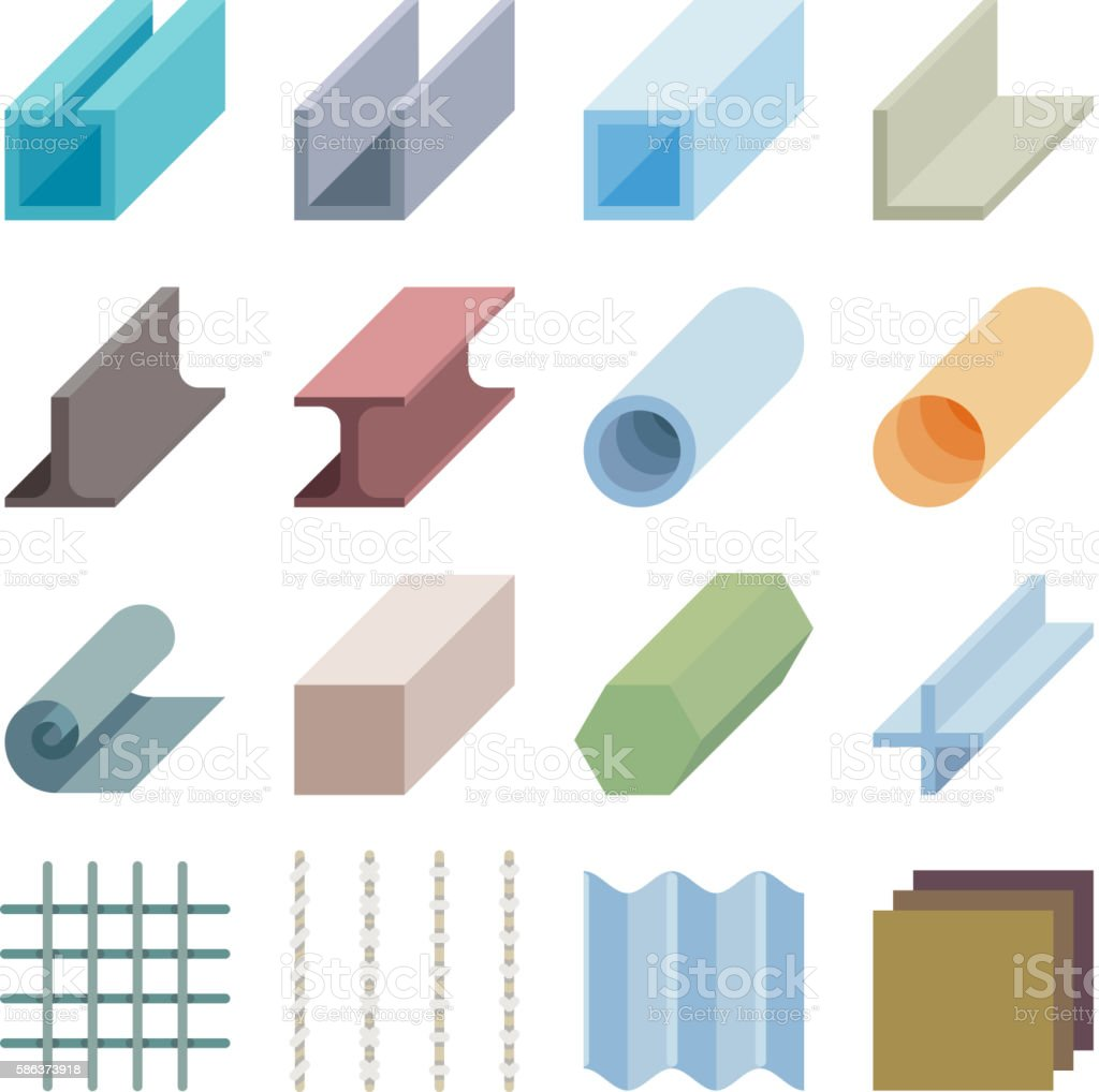 Metallurgy products vector icons. Isometric 3d elements vector art illustration