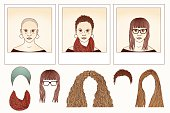 Drawing of a girl with different hair styles that can be changed