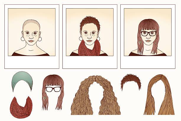 stockillustraties, clipart, cartoons en iconen met metamorphosis - girl - kaal geschoren hoofd