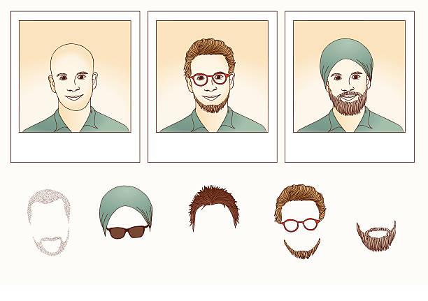 stockillustraties, clipart, cartoons en iconen met metamorphosis - guy - kaal geschoren hoofd