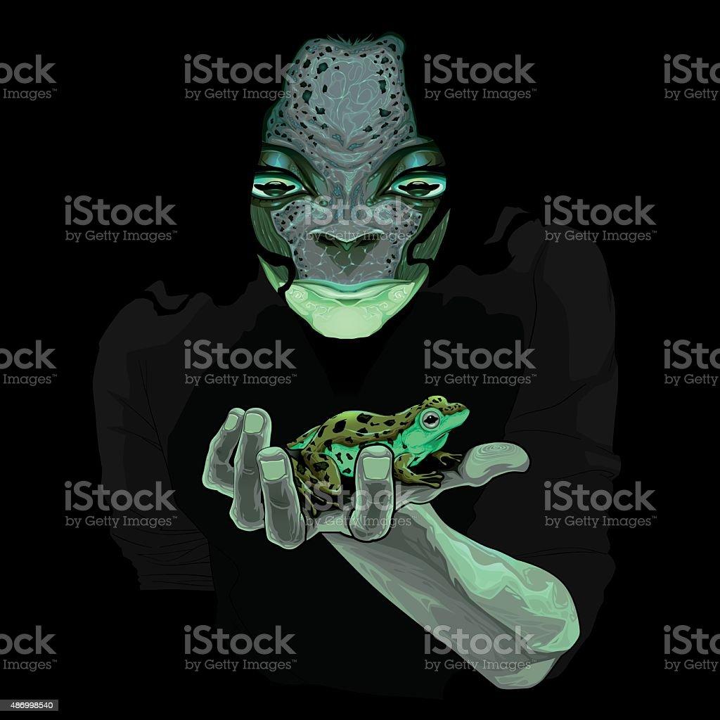Metamorphosis, monster guy with a frog vektorkonstillustration