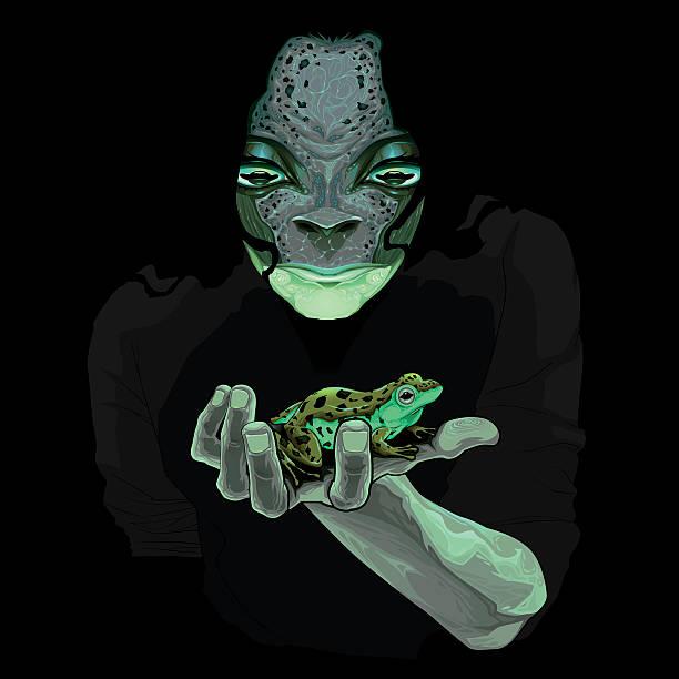 Metamorphosis, monster guy with a frog vector art illustration
