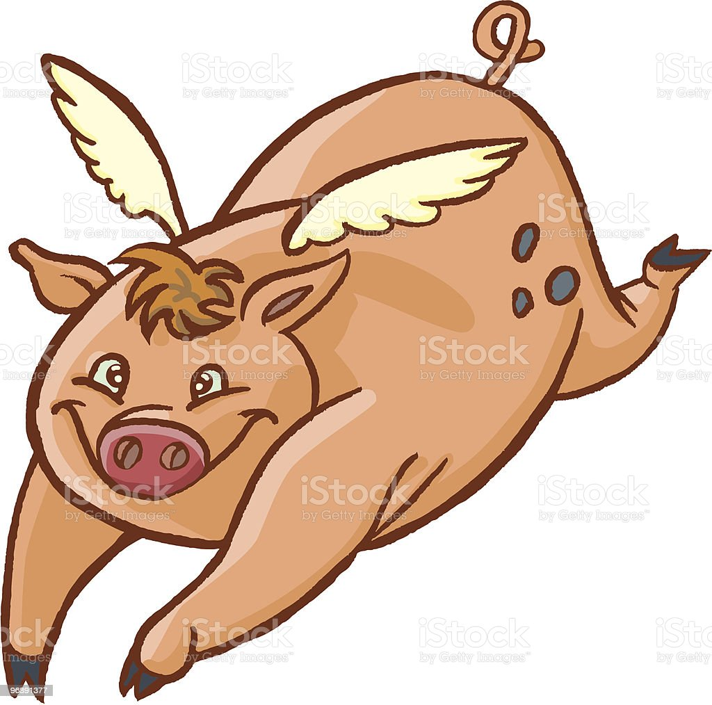 Metaphor: When Pigs Fly vector art illustration