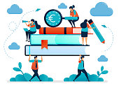 Metaphors of burden of education costs. Students carry heavy books. Looking for education funding. Free school scholarship  program. Vector illustration, graphic design, card, banner, brochure, flyer