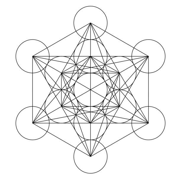 metatron küp geometri kutsal altın bakır platonik - sembolizm akımı stock illustrations