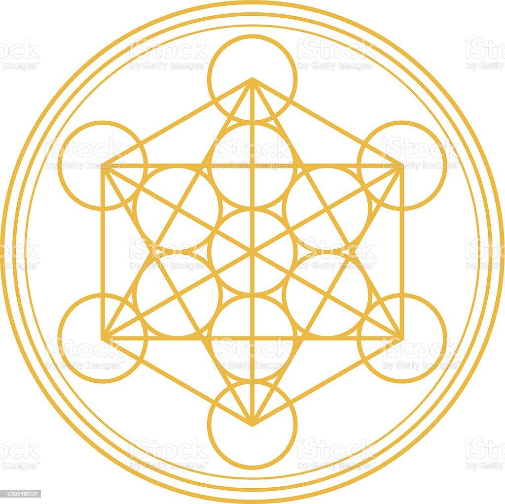Metatron Cube Gold vector art illustration