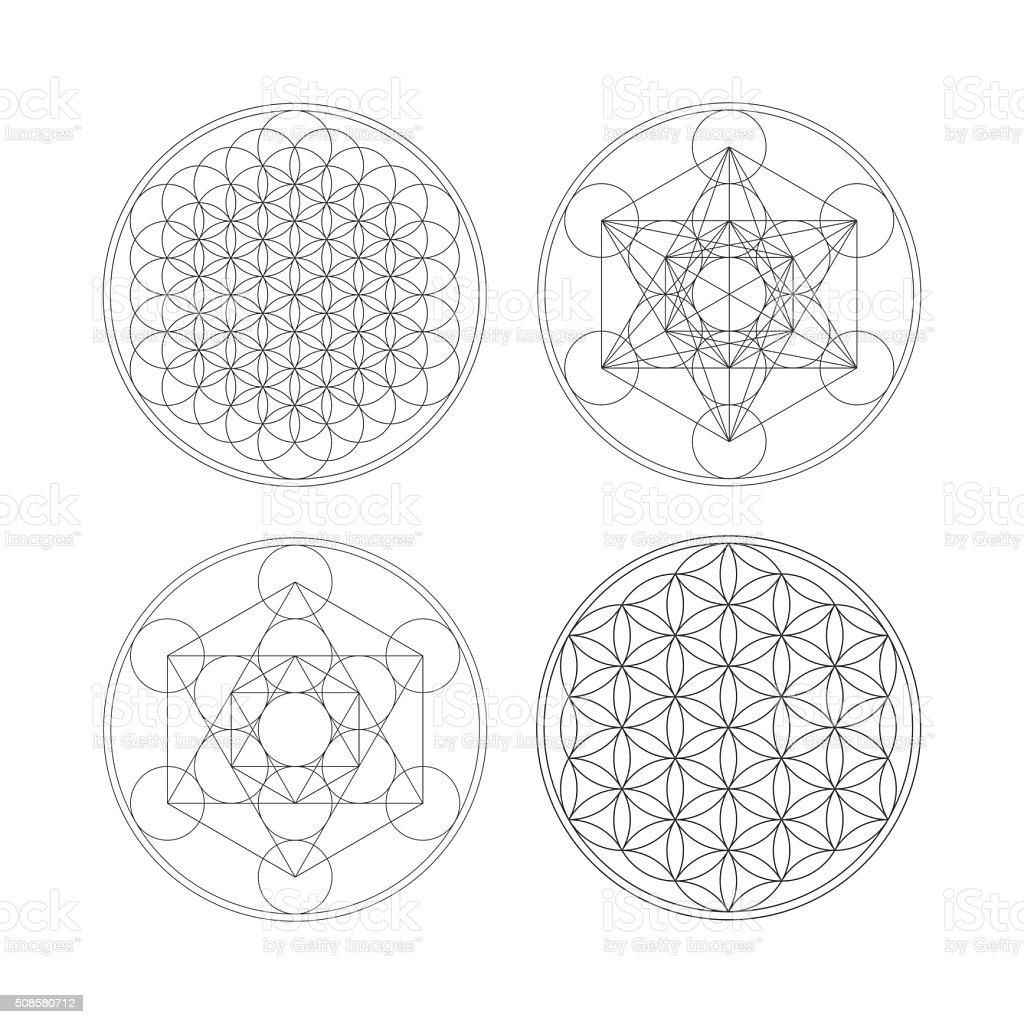 Metatrons Cube Und Blume Des Lebens Stock Vektor Art und mehr Bilder ...