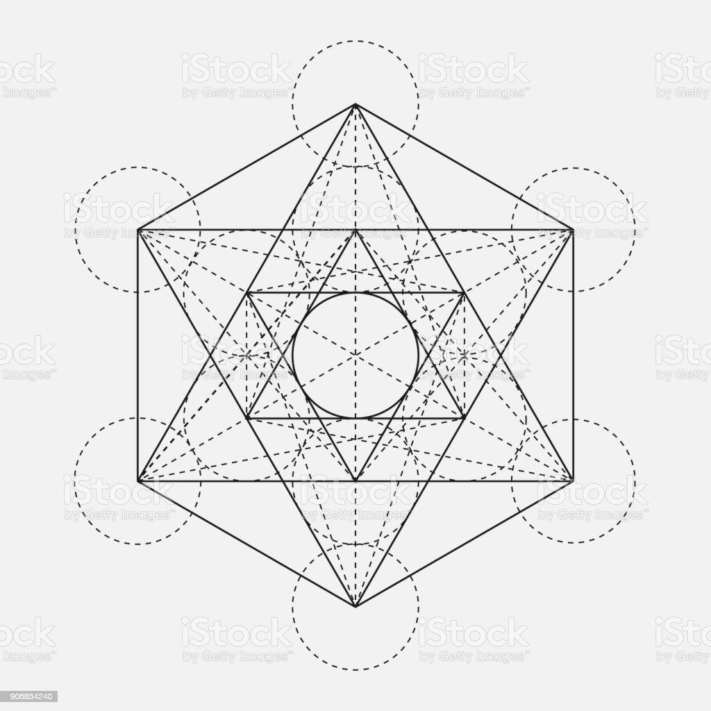 Metatrons Würfel Blume Des Lebens Vektor Geometrische Symbol ...