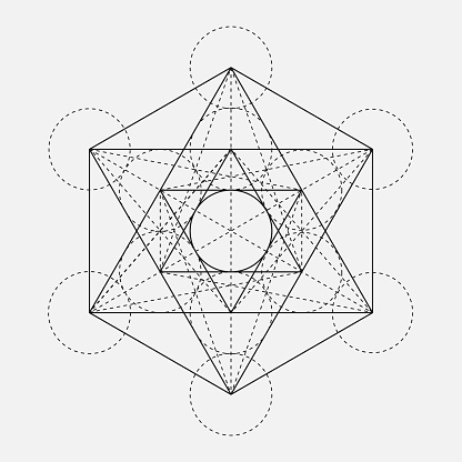 Metatrons Cube Flower Of Life Vector Geometric Symbol