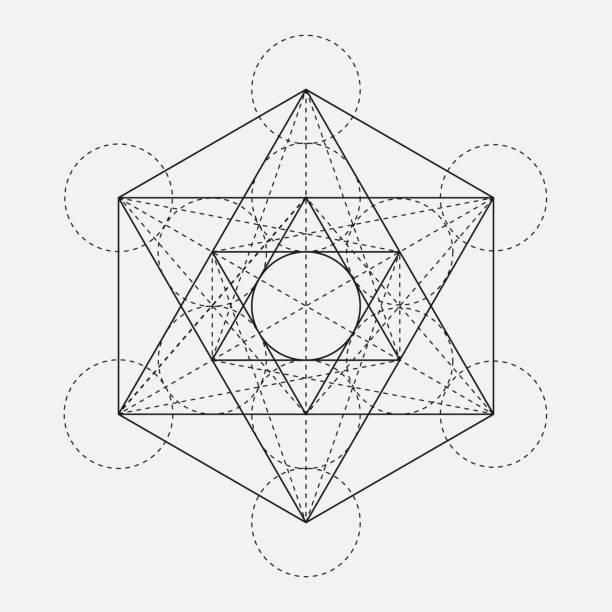Cubo de Metatrón. Flor de la vida. Vector símbolo geométrico aislado. El nombre de figura geométrica sagrada Metatrons cubo. Glifo de Santo. Geometría sagrada. Cubo de Metatron sagrado. - ilustración de arte vectorial
