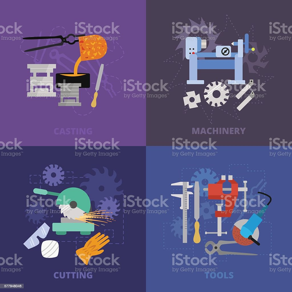 Metaworking icons. vector art illustration