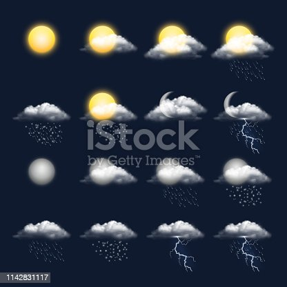 Meteo realistic icon. Clouds sun rain wind snow vector weather symbols. Illustration of meteo forecast, meteorology interface