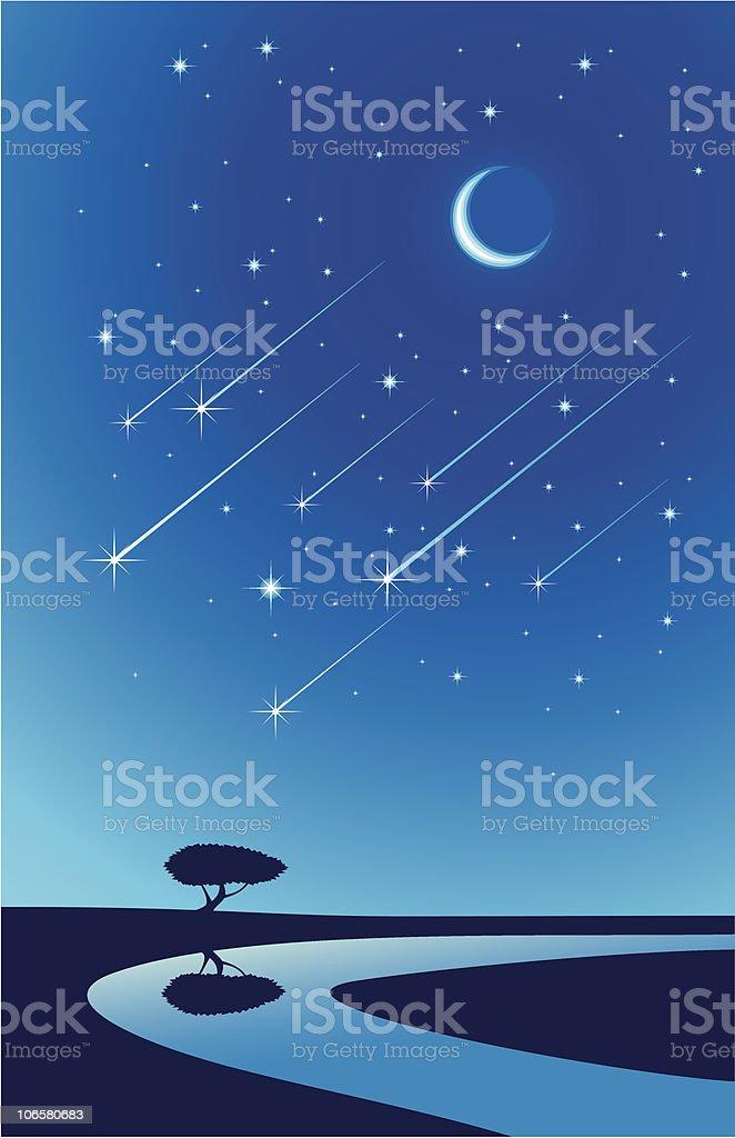 Chuva de meteoros - ilustração de arte em vetor