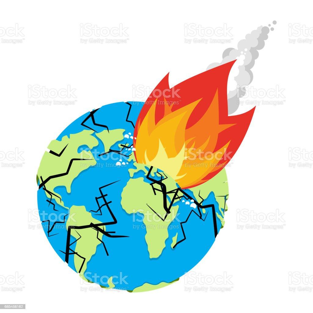 meteorite crashing earth planet is in danger armageddon and disaster rh istockphoto com Meteor Shower Meteor Striking Earth