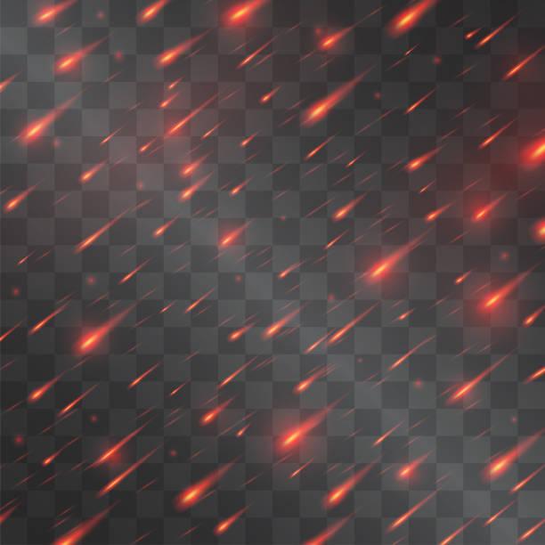 illustrazioni stock, clip art, cartoni animati e icone di tendenza di meteorite shower, falling fire sparkles of volcano lava in the sky or armageddon red rain imitation vector light effect on transparent background. - grandine