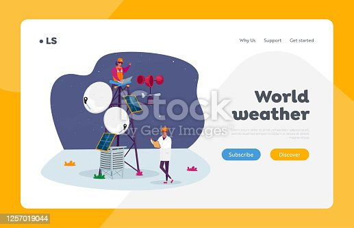 Meteorology Science Landing Page Template. Characters in Robe and Hardhat Learn Meteorological Indicators at Meteo Station. Modern Technologies for Weather Forecast. Cartoon People Vector Illustration