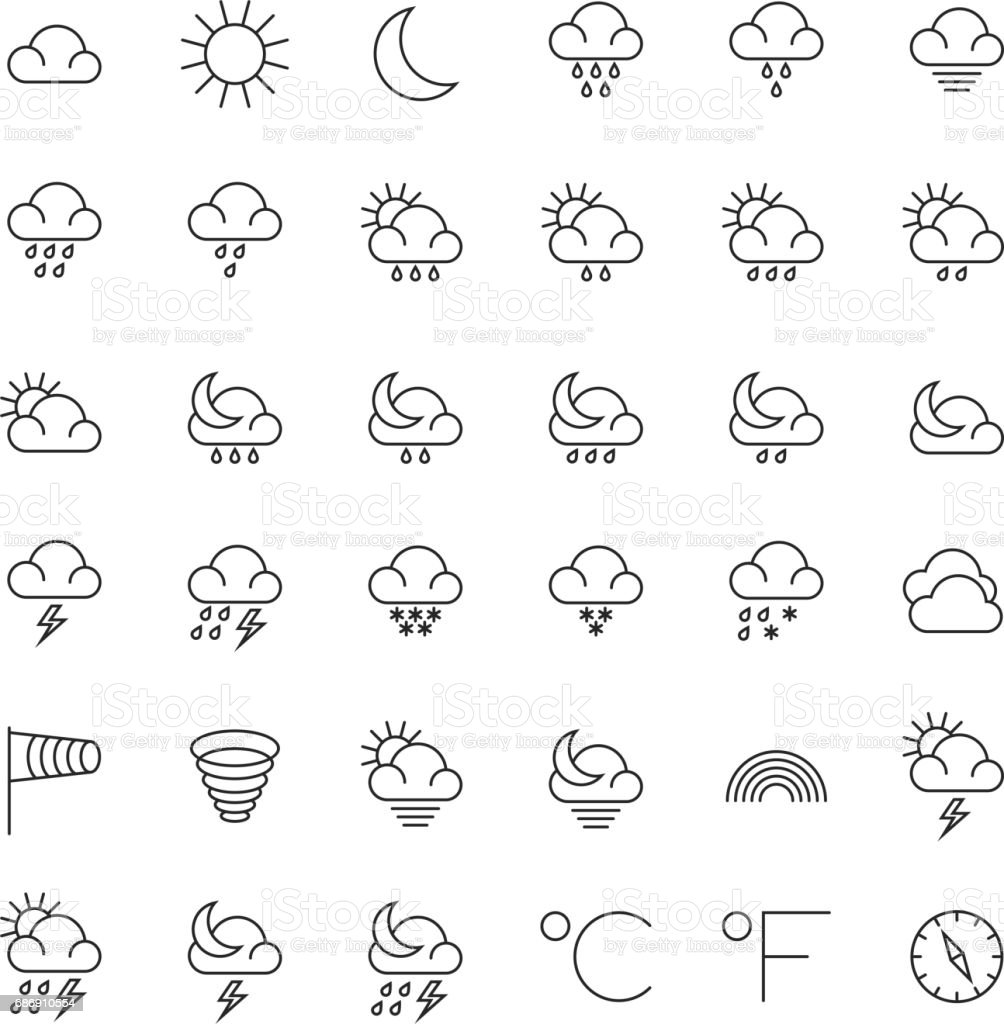 Meteorology symbols and weather vector thin line icons set stock meteorology symbols and weather vector thin line icons set royalty free meteorology symbols and weather buycottarizona Gallery