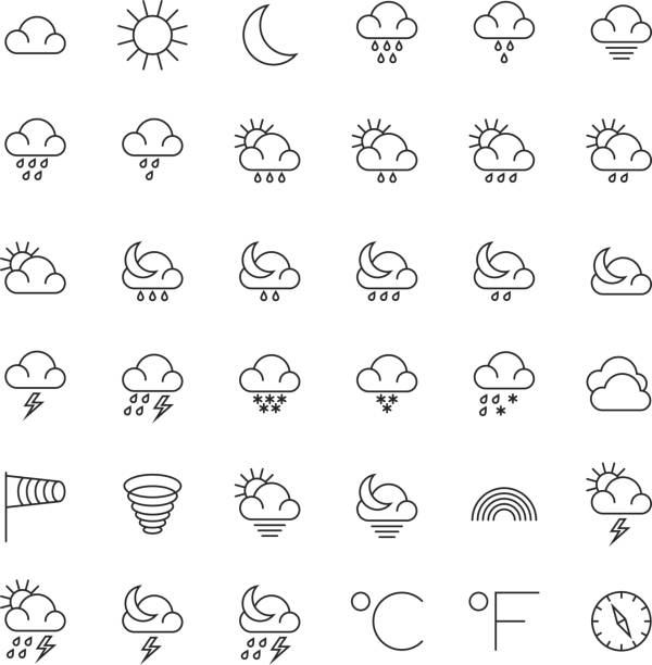 Meteorology symbols and weather vector thin line icons set Meteorology symbols and weather vector thin line icons set. Weather icons set, illustration of snowflake and rain weather hailing a ride stock illustrations