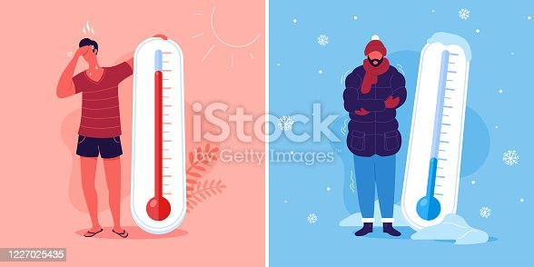 istock Meteorology thermometers. Heat and cold weather vector illustration. Cartoon characters in summer and winter season. 1227025435