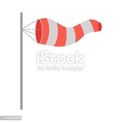 Meteorology windsock inflated by wind. Red and white windsock indicate the direction and strength of the wind. Conical textile tube. Used at airports, alongside highways at windy locations. Vector