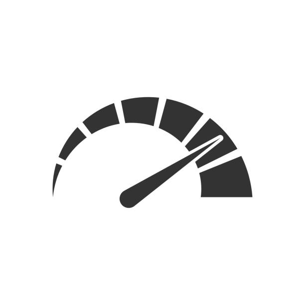 Meter dashboard icon in flat style. Credit score indicator level vector illustration on white isolated background. Gauges with measure scale business concept. Meter dashboard icon in flat style. Credit score indicator level vector illustration on white isolated background. Gauges with measure scale business concept. high up stock illustrations