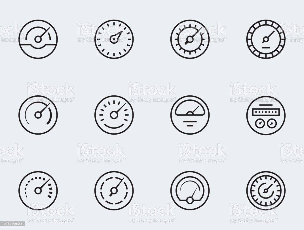 Meter icon set in thin line style. Symbols of speedometers, manometers, tachometers etc. vector art illustration