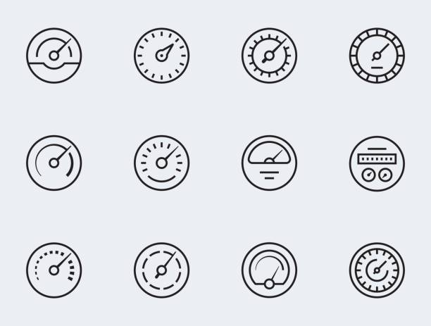 Meter icon set in thin line style. Symbols of speedometers, manometers, tachometers etc. Meter icon set in thin line style. Symbols of speedometers, manometers, tachometers etc. meter instrument of measurement stock illustrations