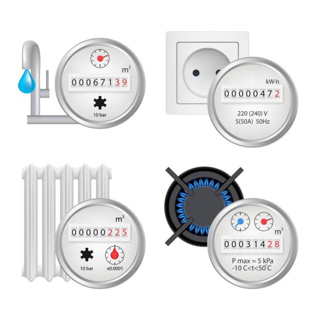 ilustraciones, imágenes clip art, dibujos animados e iconos de stock de medidor de conjunto de iconos, vector ilustración realista - amperímetro