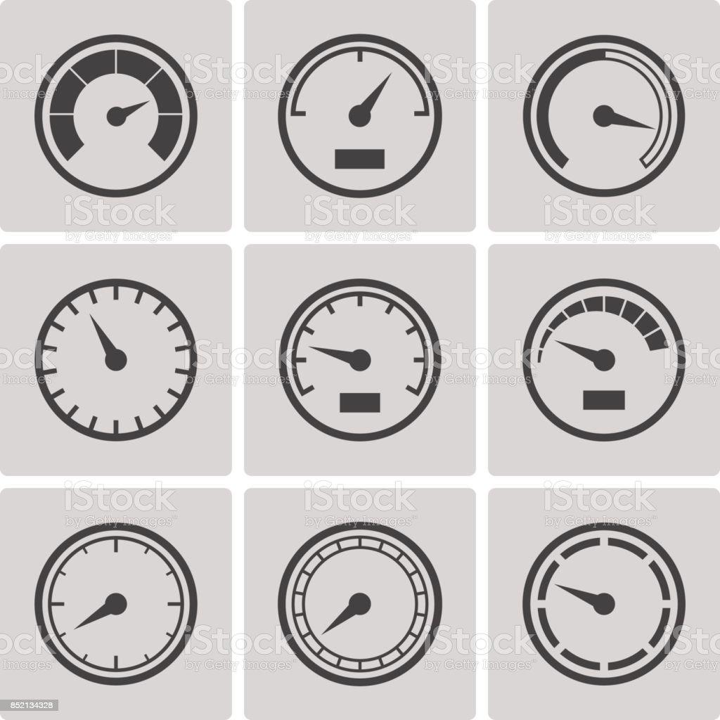 Meter icons flat style set vector art illustration