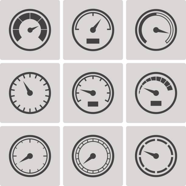 Meter icons flat style set vector art illustration
