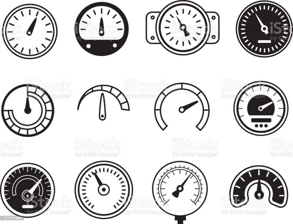 Meter icons. Symbols of speedometers, manometers, tachometers etc. vector illustration vector art illustration