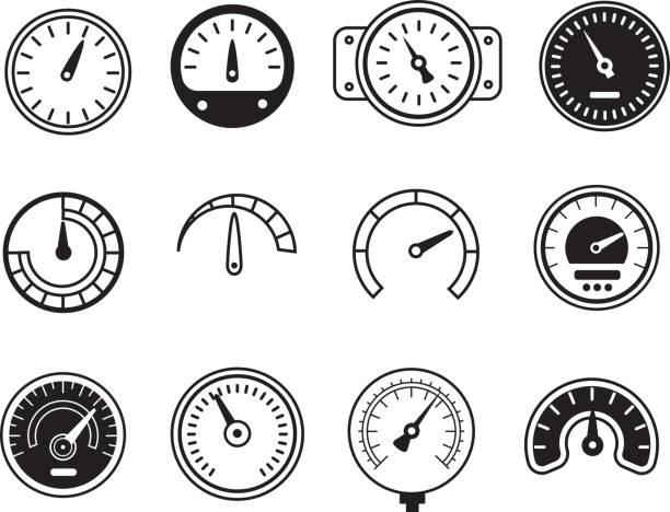 ilustraciones, imágenes clip art, dibujos animados e iconos de stock de medidor iconos. símbolos de velocidad, aceleración, manómetros, los tacómetros etc.. ilustración de vectores - amperímetro