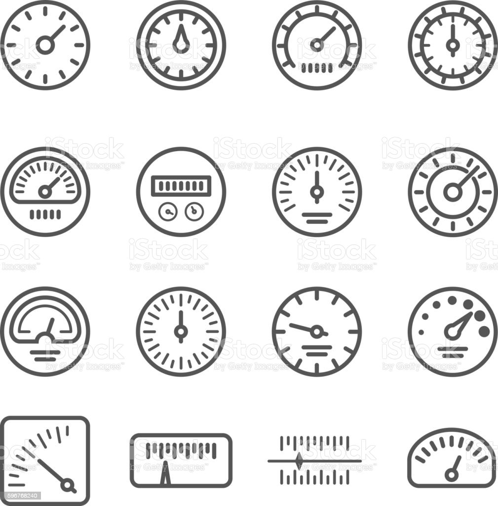 Meter Manometers Speed Clock Measure Line Vector Icons Stock Vector ...