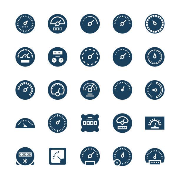 Meter vector icons in flat style. Meter vector icons in flat style. automobile industry stock illustrations