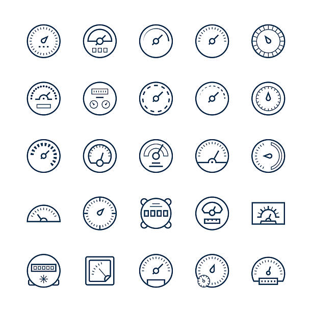 ilustraciones, imágenes clip art, dibujos animados e iconos de stock de meter vector icons in thin line style. - amperímetro