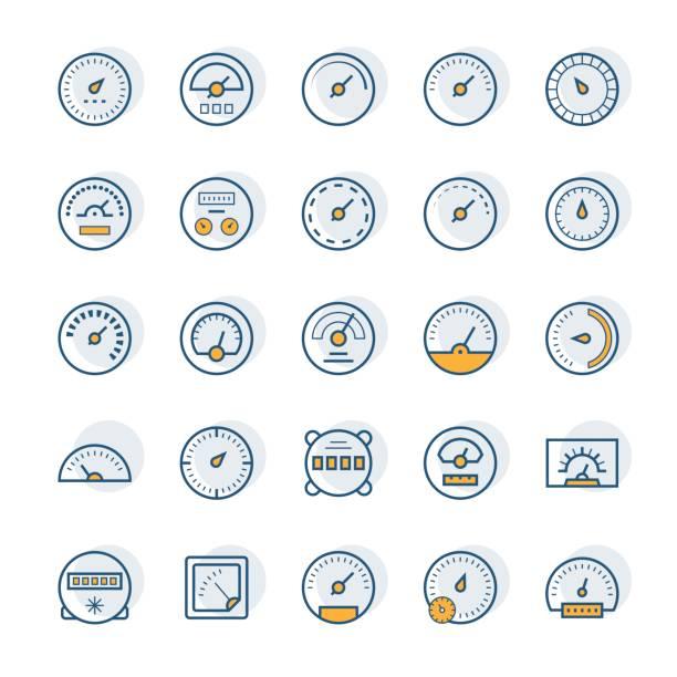 ilustraciones, imágenes clip art, dibujos animados e iconos de stock de iconos de vector de metro en estilo de línea fina. - amperímetro