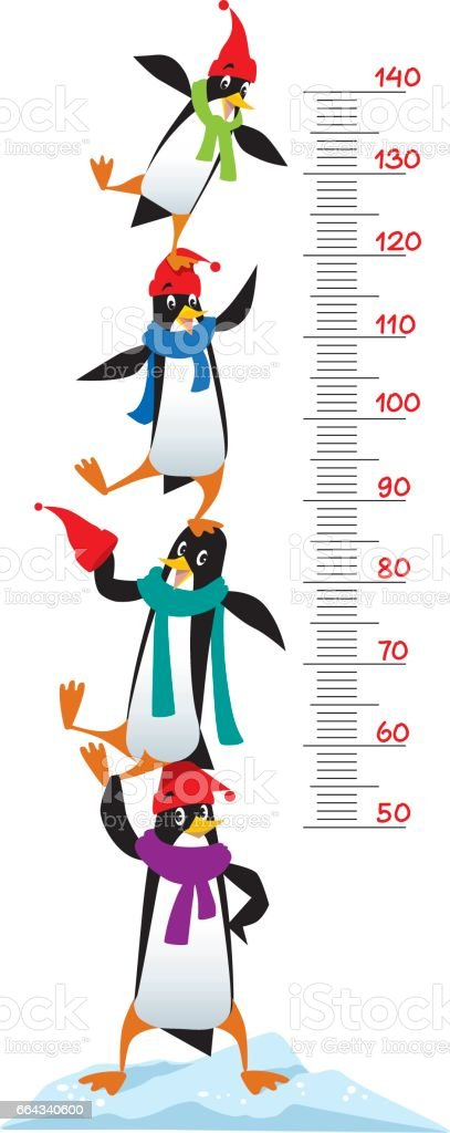 Meter wall or height chart with Funny penguins vector art illustration