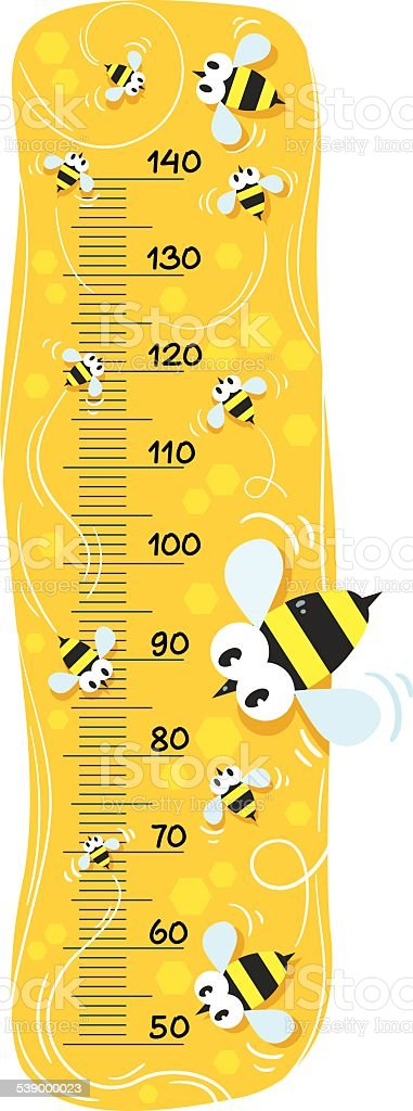 Meter wall or height meter with funny bees vector art illustration