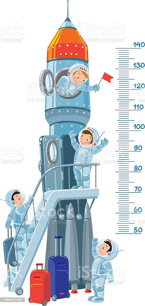 Meter wall with rocket and boys-astronauts vector art illustration