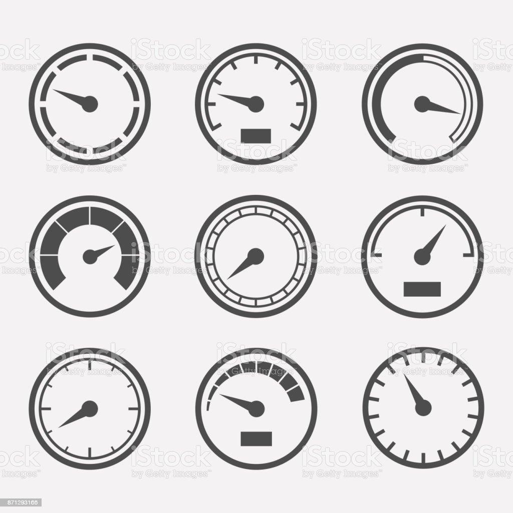 Meters vector set vector art illustration