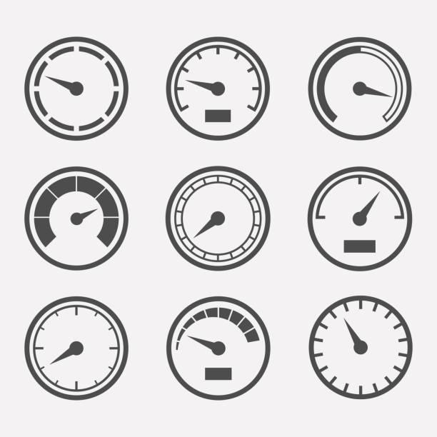 bildbanksillustrationer, clip art samt tecknat material och ikoner med mäter vektor set - barometer
