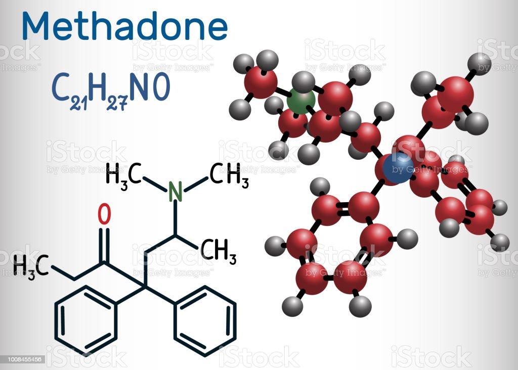 Methadonmolekül Es Ist Ein Opioid Dient Als Analgetikum Bei Der ...