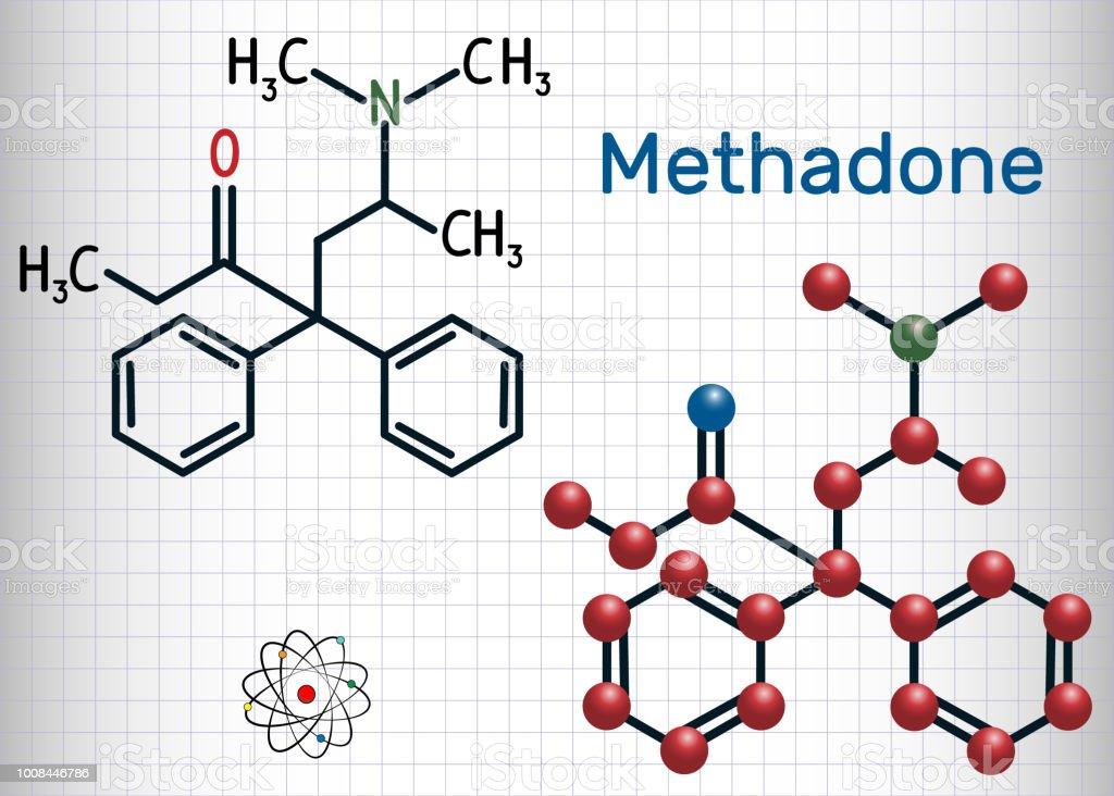 Methadonmolekül Chemische Formel Und Molekül Strukturmodell Blatt ...