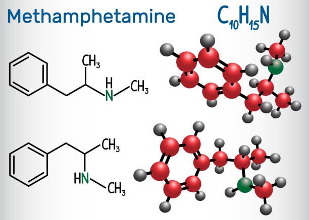 methamphetamin (crystal meth, c10h15n) molekül, ist ein starkes zentralnervensystem reizmittel. chemische formel und molekül strukturmodell - methamphetamin stock-grafiken, -clipart, -cartoons und -symbole