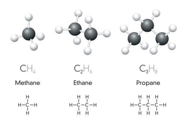 Methane, ethane, propane chemical formulas and molecule models vector art illustration