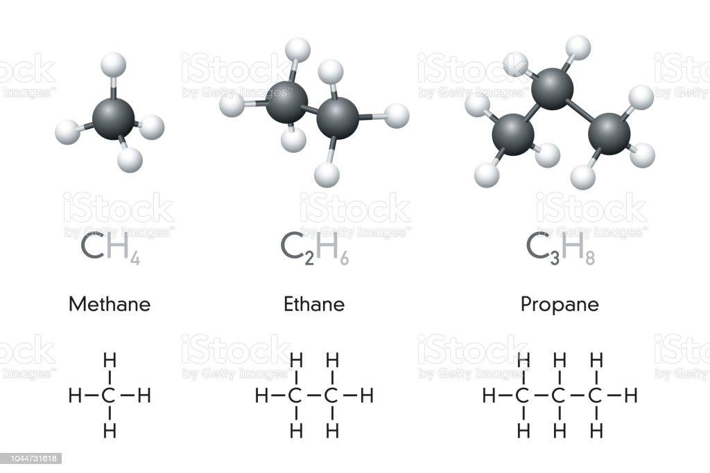 Methane Ethane Propane Molecule Models And Chemical Formulas Stock