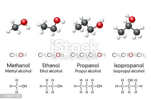 Methanol, ethanol, propanol and isopropanol, molecular models and chemical formulas of alcohol compounds. Chemicals, used as fuel, antiseptic, disinfectant or cleaning agent. Illustration. Vector.