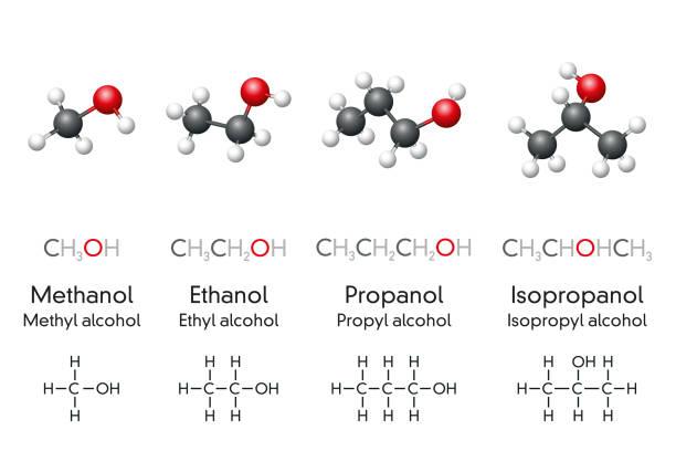 Methanol, ethanol, propanol and isopropanol, molecular models and chemical formulas vector art illustration