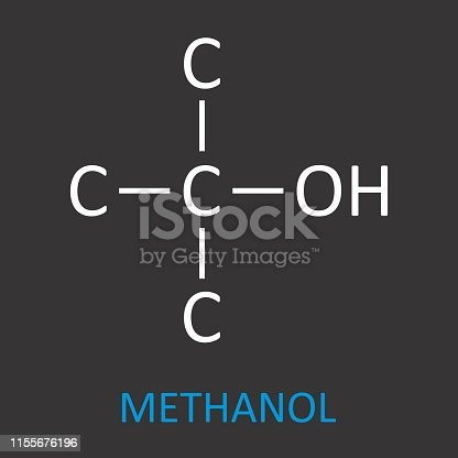 The Methanol structural formula on dark background